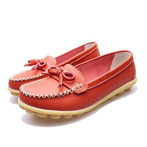 Slip Red Shoes Womens Flat Loafers On Indoor Leather Casual DEARWEN xdYqFzw8Bz