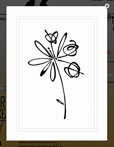 vong-art-original-saying-quote-flower-series-lulu-black-white-double-matted-sharpie-artwork-8x10
