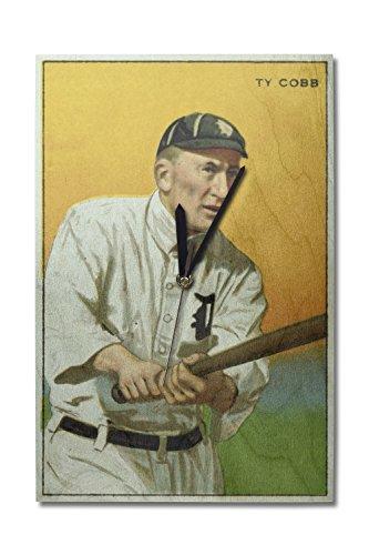 (Lantern Press Detroit Tigers - Tyrus Raymond Cobb - Baseball Card (10x15 Wood Wall Clock, Decor Ready to Hang))
