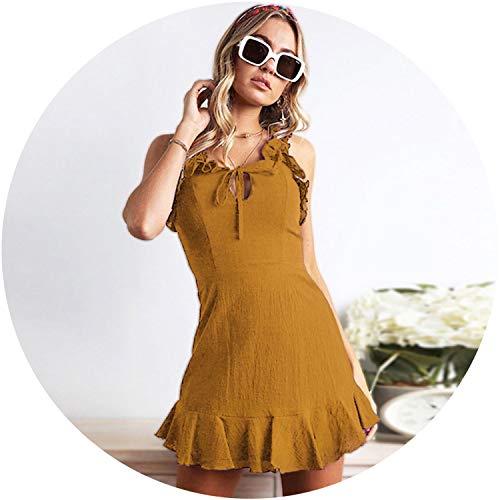 's Round Neck Sleless on Tie-up High Rise Ruffle Dress Mini Dress Vestidos Femme #25,E,M,