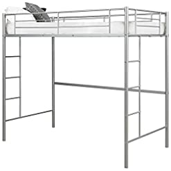 Bedroom Costzon Twin Metal Loft Bed, Heavy Duty Bunk Bed Frame w/ Wide Two-Side Ladders and High Safety Guard Rails… bunk beds