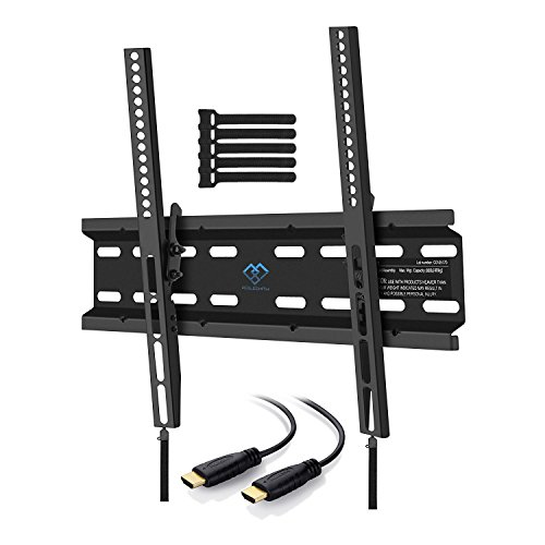 Tilting TV Wall Mount Bracket Low Profile for Most 23-55 Inch LED, LCD, OLED, Plasma Flat Screen TVs with VESA up to 115lbs 400x400mm – Bonus HDMI Cable and Cable Ties by PERLESMITH