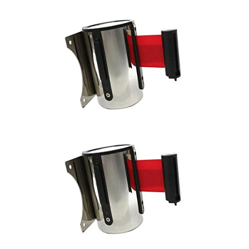 Almencla 2 Pcs Red Retractable Wall Barrier Belt for Bank Station Hospital Post Office Theatre Airport Subway Supermarket, 2m & ()