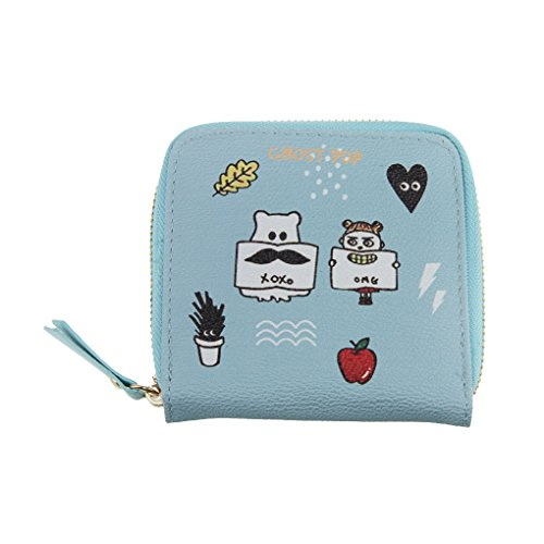 Wallets for Women, Ladies Teens Girls Novelty Zip Around PU Leather Short Bi-fold Mini Wallet Small Card Cash Purse Case Holders Coin Pouches Clutch Money Clip Blue