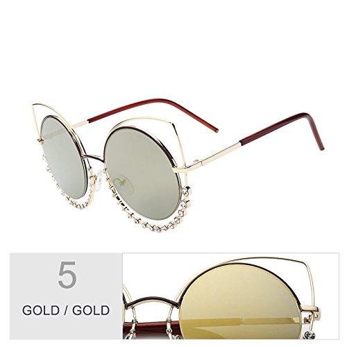 UV400 de para Sunglasses mujeres Señor sol el a Gafas Diamond gris Gold gafas plata de de gradual sol gafas de Gold Eye espejo TL degradado Cat de tonos de HIwTxZ