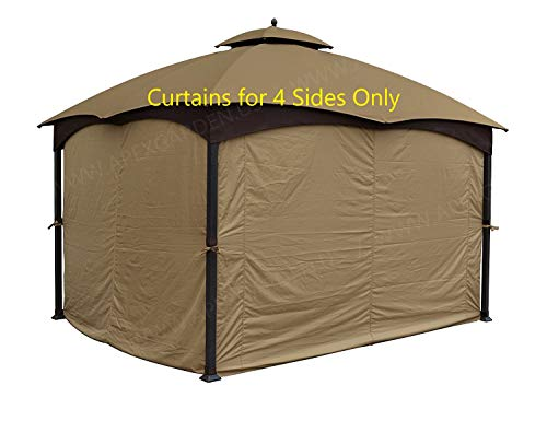 APEX GARDEN Universal Privacy Curtain Set for 10' x 12' Gazebo
