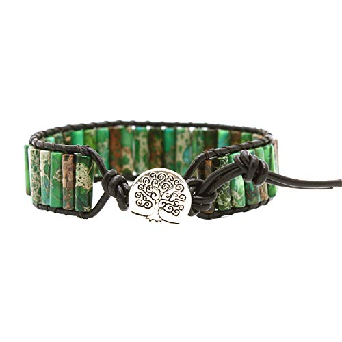 Button Beaded Bracelet - Bonnie Beaded Wrap Bracelet for Women Gemstone Beads Leather Bracelet Tree of Life Imperial Jasper Stone Beads Wrap Bracelet (Dark Green)