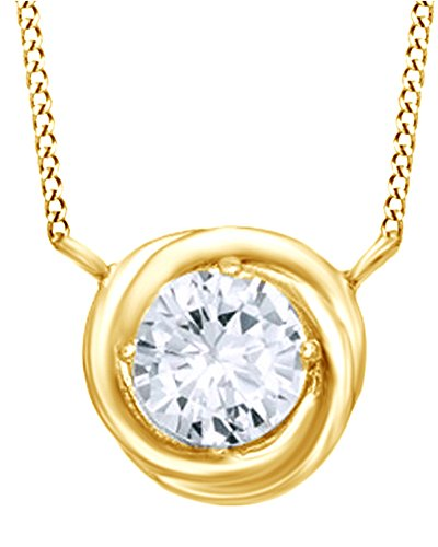 Jewel Zone US Simulated White Sapphire Prong Set Swirl Pendant Necklace In 14K Gold Over Sterling Silver by Jewel Zone US