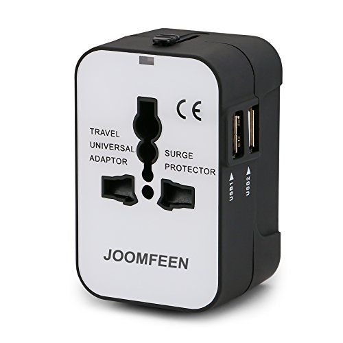 Travel Adapter, JOOMFEEN Worldwide All in One Universal Power Wall Charger AC Power Plug Adapter with Dual USB Charging Ports for USA EU UK AUS Cell Phone Laptop-Black/White