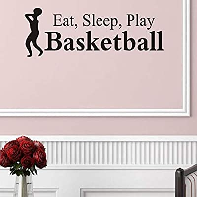 Sticker, Basketball Wall Stickers Eat Sleep Play Basketball Letter Decal Wall Sticker Room Sports Wall Sticker: Sports & Outdoors