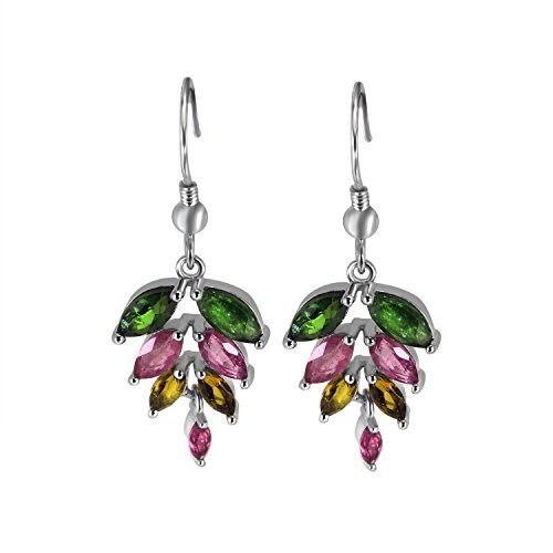 S925 Sterling Silver Lovely Multi Coloured Leaf Natural Gemstone Tourmaline Drop Earrings for Women (Multi Coloured Gemstone Earrings)