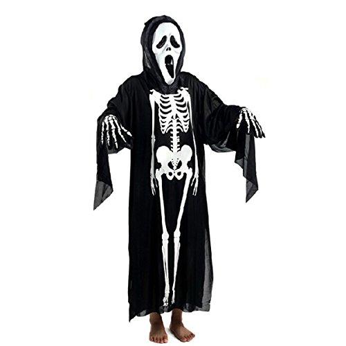 ROSENICE Skeleton Costume Clothes Halloween Skull Screaming Ghost Mask Cosplay Props Set(Black)
