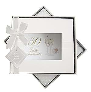 White Cotton Cards - Libro de invitados de celebración de bodas de oro, diseño de copas de champán
