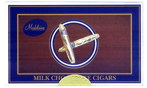 Madelaine Gold Cigars Chocolate Gift Box - Premium Milk Chocolate Cigars Wrapped In Italian Foil - 24 Cigars