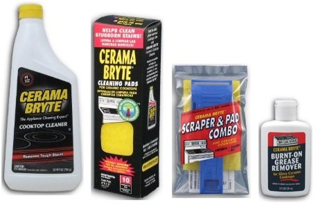 Cerama Bryte Best Value Kit: Ceramic Cooktop Cleaner 28oz, Scraper, 10 Pads, Burnt-on Grease Remover 2oz