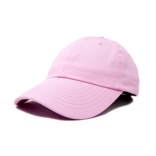 DALIX Baseball Cap Dad Hat Plain Men Women Cotton Adjustable Blank in Light Pink