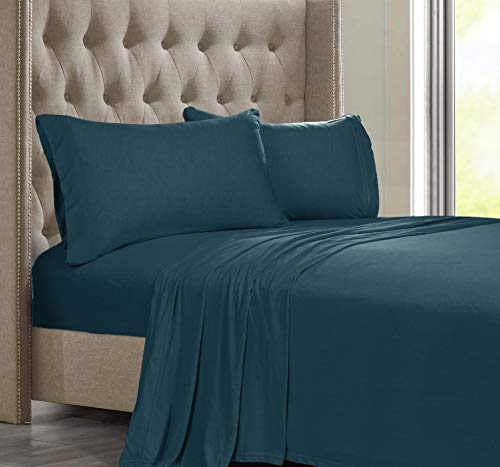 Posh Home Jersey Knit Ultra Soft Cotton T-Shirt Comfortable Breathable Cooling Unisex Cozy All-Season Bed Queen Sheet Set (Queen, Teal)