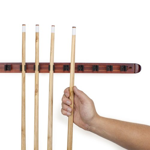 12-Cue-Wall-Mounted-Billiard-Stick-Rack-with-Wooden-Finish-by-Felson-Billiard-Supplies