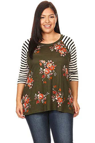 Lightweight Plus Size Striped Sleeve Floral Raglan Tunic Shirt/Made in USA Floral Olive 3 3XL