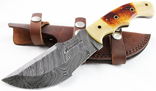 Damascus Knife – Moorhaus Handmade Camel Bone Handle – Bushcraft Tracker – Includes Leather Sheath. Special promotional price.