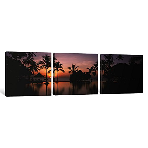 iCanvasART 3 Piece Sunset over Hotel Pool, Lombok, West Nusa Tenggara, Indonesia Canvas Print by Panoramic Images, 48'' x 16''/1.5'' Depth by iCanvasART