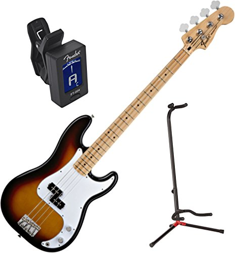 Fender 0146102532 Standard Precision Electric Bass Guitar - Maple Fingerboard, Brown Sunburst w/ Stand and Tuner by FMIC