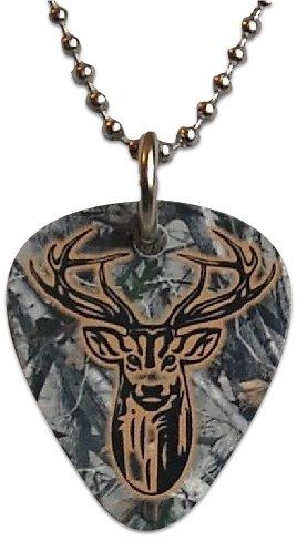 """Unique and Custom (.76 MM Thick) Medium Gauge Aluminum, Traditional Style """"Round Tip"""" Guitar Pick Pendent w/ Deer & Camo {Brown, Grey, & Black - One Pick} w/ Hole for Necklace & 24"""" Steel Chain"""