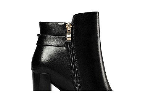 Crude Documentary Pointed Boots High Heel Leather Slim Boot Women's Ankle Boots Shoes 34 kza5CZi3FW