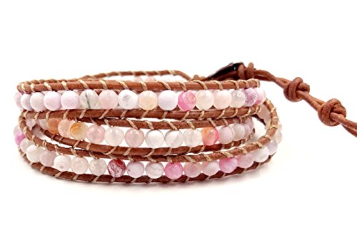 3 Wrap Suede Leather Bracelet -Optimistic- Pink Agate 4mm Bead by BLUEYES COLLECTION - Leather Suede Wrap