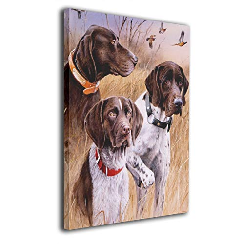 (Canvas Wall Art German Short-haired Pointer Dog Decor Frameless Paintings Pictures Modern Decorations for Living Room Bedroom Bathroom Home Decor for Living Room 16x20inch )