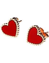 Earrings Women's Stainless Steel Heart Stud Earrings Rose Gold Color