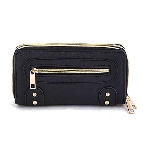 Double Zipper Vegan Leather Wallet w/ Detachable Wristlet Strap (Black)