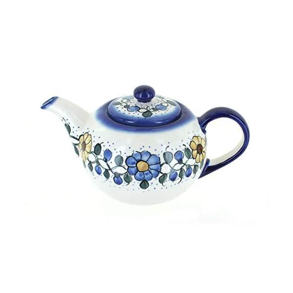 Blue Rose Polish Pottery Geranium Large Teapot
