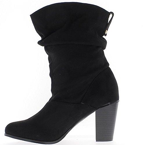 Interno foderato nero stivali grandi dimensioni 9cm aspetto camoscio tacco