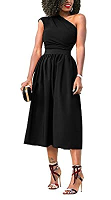 JUSICA Long Dresses for Women Party Single One Off Shoulder Sleeveless Bodycon Cocktail Tunics Club Dress