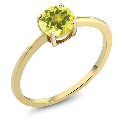 (Gem Stone King 10K Yellow Gold 1.00 Ct Round Canary Mystic Topaz Gold Solitaire Engagement Ring (Size 8))
