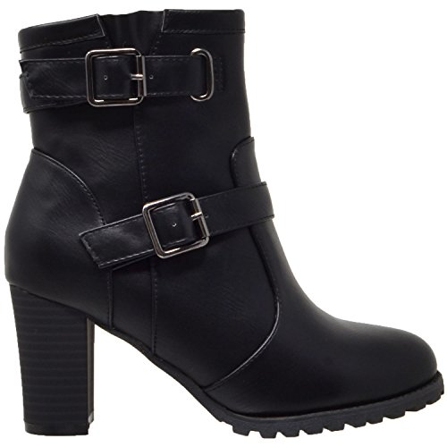 Buckle Stacked KS Strap amp; Adjustable WB Heel Chunky A20 Nappa Womens Gold Black KSC CO Ankle Boots Booties w04rzqw