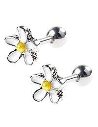 BODYA 1pc 18g 7mm white enamel daisy Flower Ear Cartilage Barbell Helix Earlobe Studs Earrings Piercings