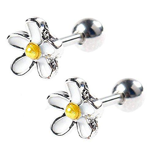 - BODYA 2Pcs 18g 7mm white enamel daisy Flower Ear Cartilage Barbell Helix Earlobe Studs Earrings Piercings