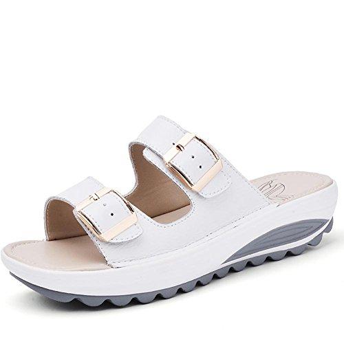 Sandalen L@YC Frauen Sommer Sommer 2017 anti-Skid Hausschuhe Hausschuhe Mit Outdoor Dicken Flachen Boden Sandalen , white , 40