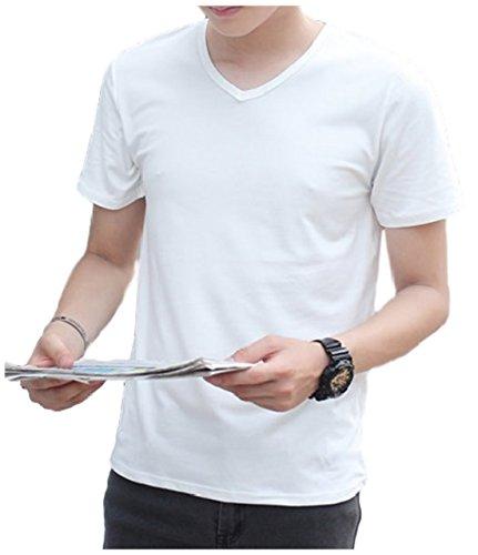 [エムズ ミミ] メンズ 半袖 Tシャツ 無地 シンプル スリム 6色展開 選べる 丸首 Vネック S~XXL