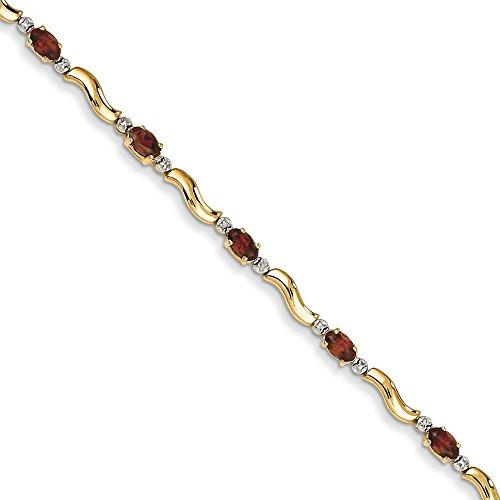 """14 carats-Diamant-Grenat-Bracelet fantaisie rugueux 7 """"Motif JewelryWeb pince de homard"""
