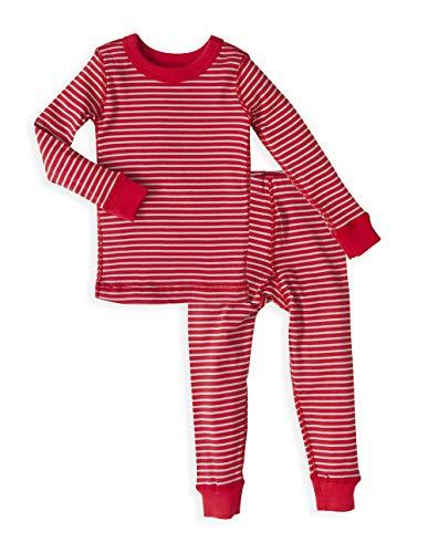 Toddler Long Sleeve Pajama Set - 100% Soft Organic Turkish Cotton- Unisex Boys/Girls - Red Silver Stripe for Sizes 4T]()