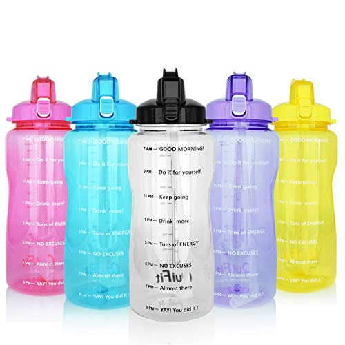 BuildLife Motivational Gallon Water Bottle 64OZ with Unique Timeline/Measurements/Goal Marked Times for Measuring Your Daily Water Intake, Large BPA Free Non-Toxic Water Jug (64OZ, 64OZ-Gray)