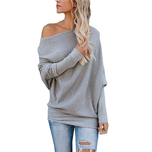 Seaintheson Tops for Women Sexy, Women's Fall Off Shoulder Batwing Sleeve Sweater Loose Sweater Knit Jumper Casual Blouse