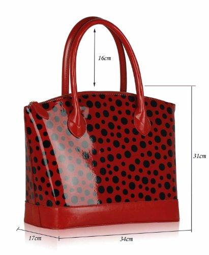 ANNA GRACE - Bolso cruzados de Charol para mujer Rojo Design 1 - Red/Black