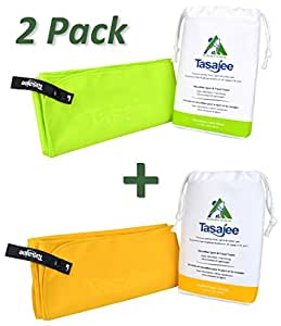 Premium Microfiber Travel & Sports Towel 2 Pack by Tasajee. Fast Drying, Super Absorbent, Ultra-compact, Lint-free, Durable. Soft Suede Finish with large Clip-open Hanging Loop. (Green/Gold, 2-Pack 80x160cm (31x63-Inch))