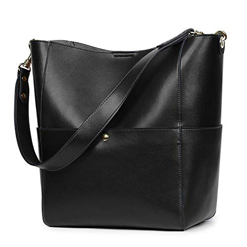 Hobo Woven Black Leather Bag - S-ZONE Women's Vintage Genuine Leather Bucket Tote Shoulder Bag Hobo Handbag Purse
