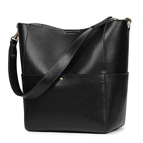 S-ZONE Women's Vintage Genuine Leather Bucket Tote Shoulder Bag Hobo Handbag Purse