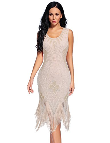 Flapper Girl Women's Flapper Dresses 1920s Beaded Fringed Great Gatsby Dress (M, Beige)